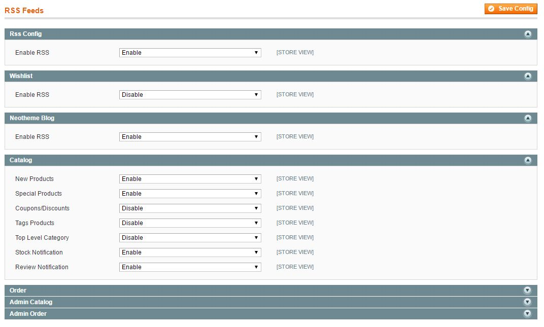 magento rss feed configuration screen