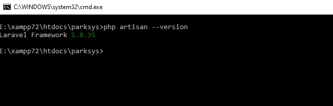 Checking laravel version using cli command-prompt terminal